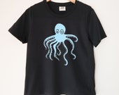 Squiggly Octopus Printed Ladies Crewneck Boxy T Shirt | 100% Organic Cotton Top | Made in BC