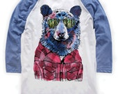 Hipster Bear on Unisex Baseball T-Shirt