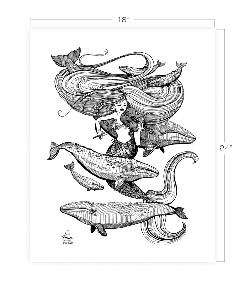 Mermaid and Fiddle Downloadable Print 18 x 24 image 0