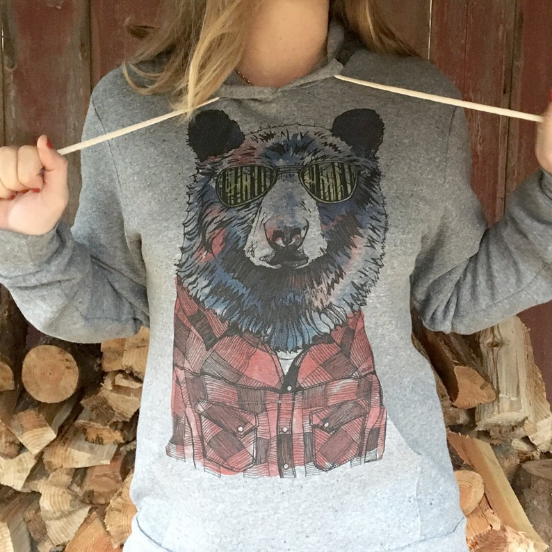 Hipster Bear Unisex Pullover Hoodie image 0