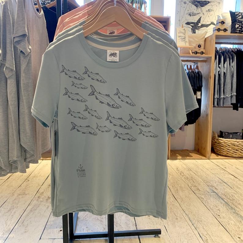 Salmon school print on t shirt  Crewneck boxy silhouette tee image 0