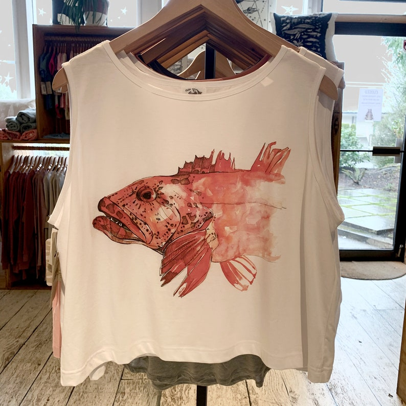 Watercolour ling cod fish on sleeveless top Boxy silhouette image 0