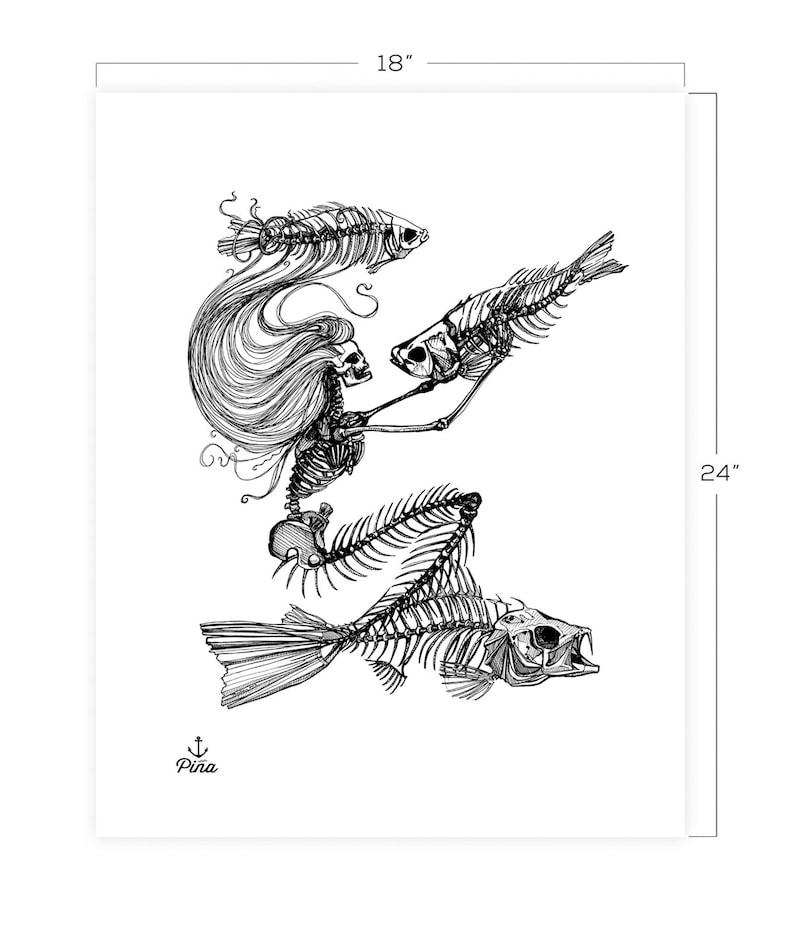 Skeleton Mermaid Downloadable Print 18 x 24 image 0