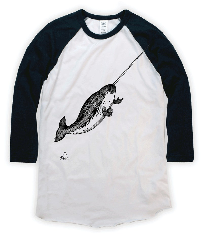 Gnarwhal on Unisex Baseball T-Shirt image 0