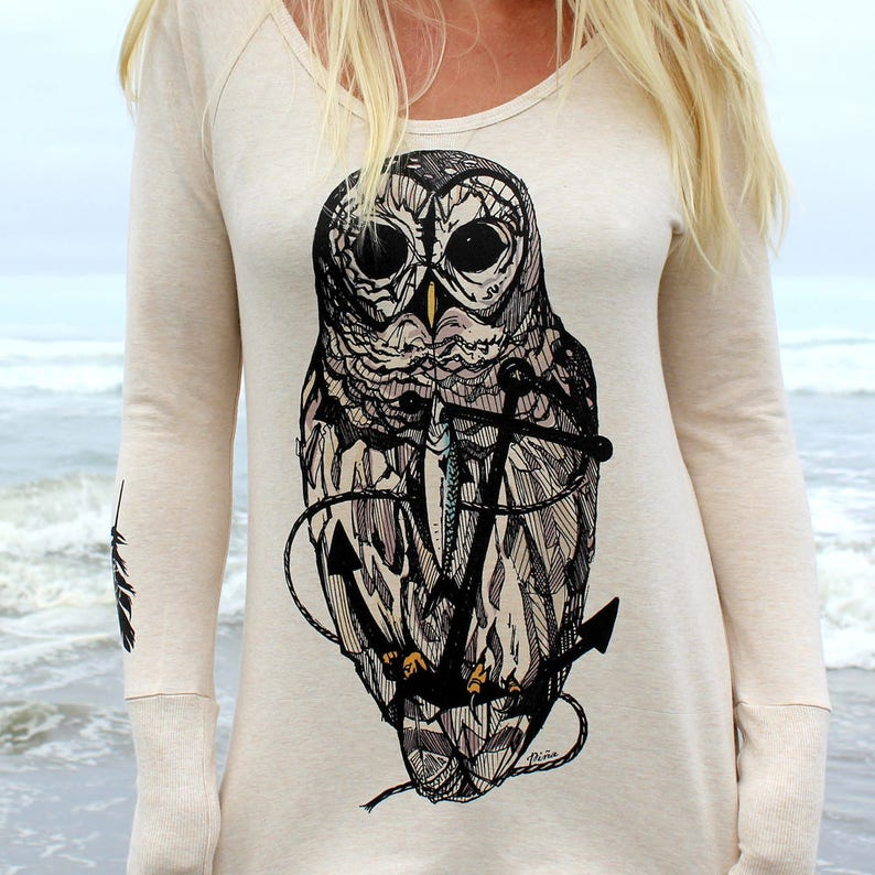 Owl and Anchor on Ladies Camper Shirt image 0
