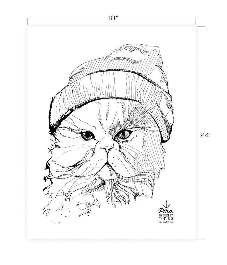 Cat in Toque Downloadable Print 18 x 24 image 0