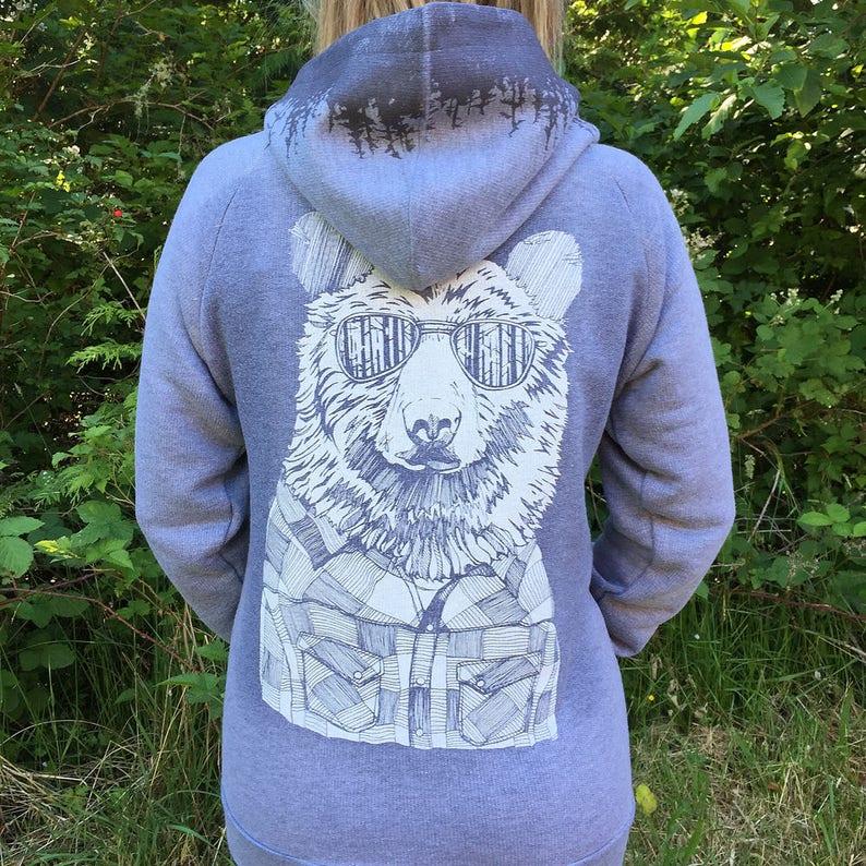 Bear in Shades & Treeline Hood Unisex Zip Hoodie image 0