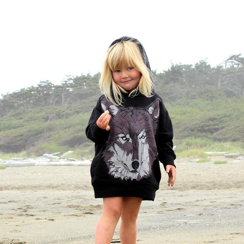 Brown Wolf Face on Black Kids Hoodie image 0