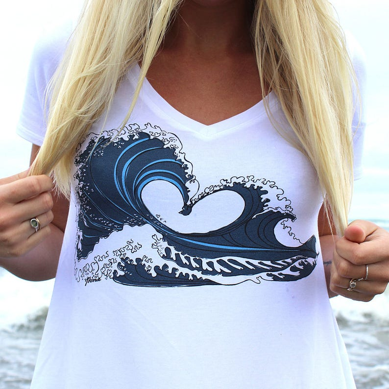 Love Wave on White Bamboo Vneck image 0