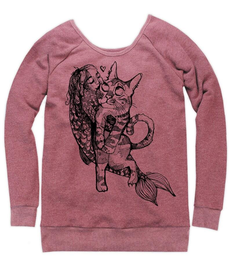Catfish Girl on Boatneck Sweatshirt image 0