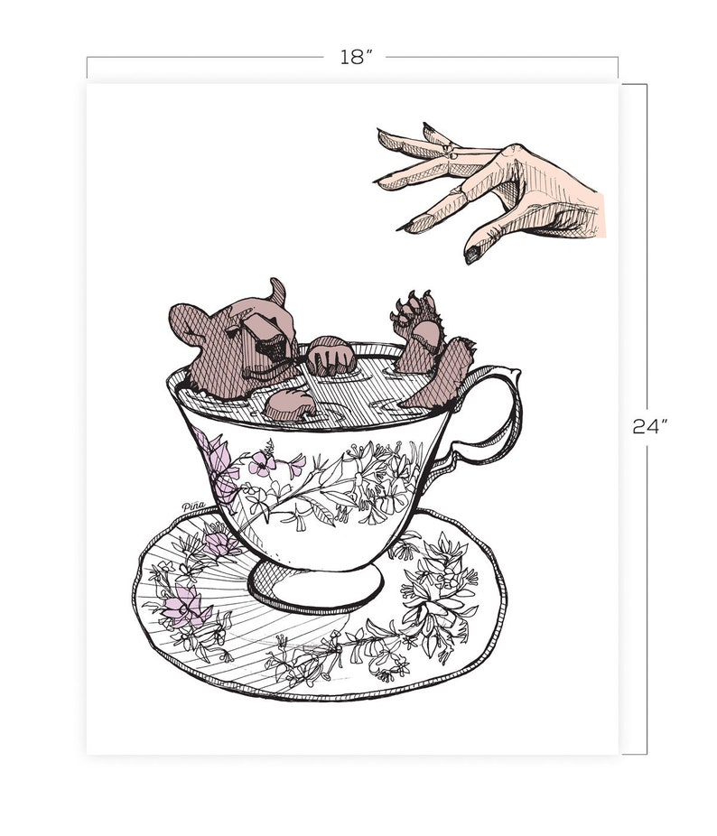 Bear in Tea Cup Downloadable Print 18 x 24 image 0