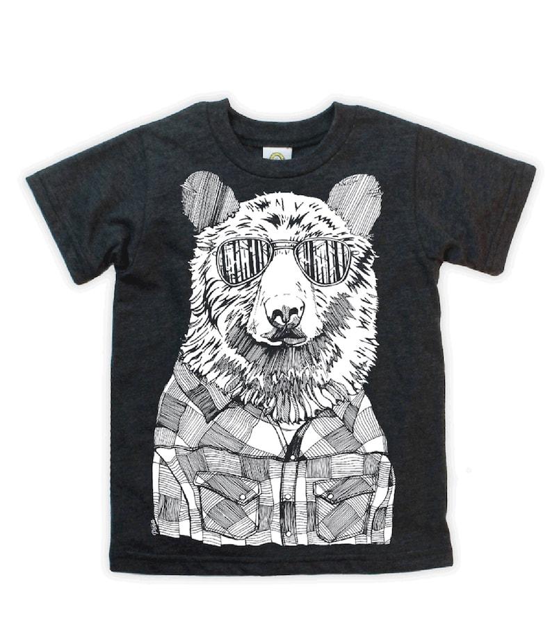 Hipster Bear on Kids T-shirt image 0