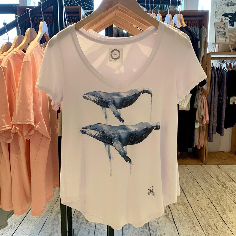 Watercolour humpbacks on V neck Soft Bamboo t shirt image 0