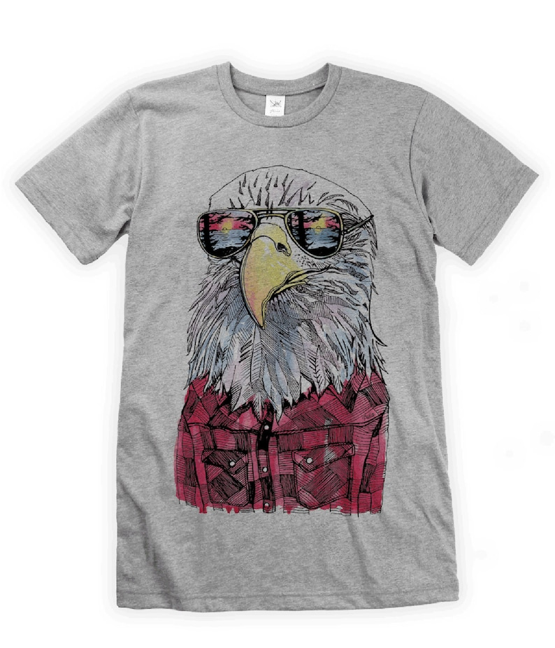 Hipster Eagle on Unisex T-Shirt image 0