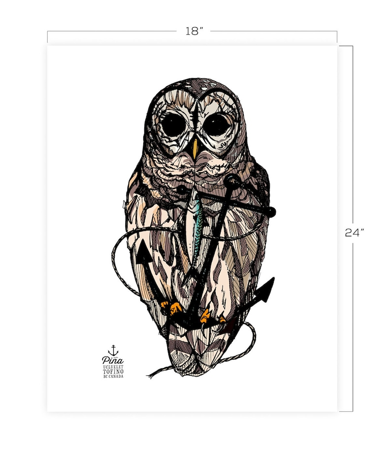 Owl and Anchor Downloadable Print 18 x 24 image 0