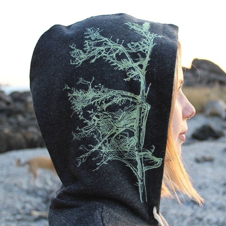 Spruce Trees on Black Heathered Zip Hoodie image 0