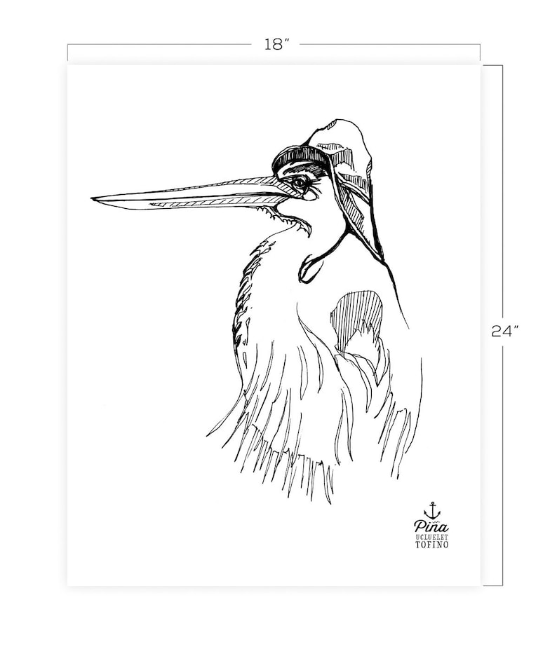 Heron and Hat Downloadable Print 18 x 24 image 0