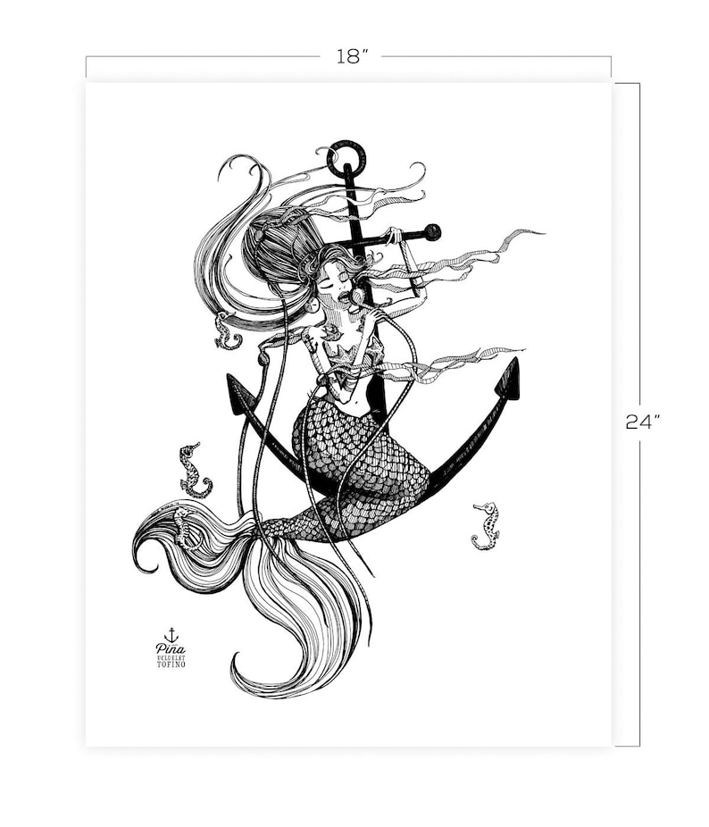 Mermaid and Anchor Downloadable Print 18 x 24 image 0