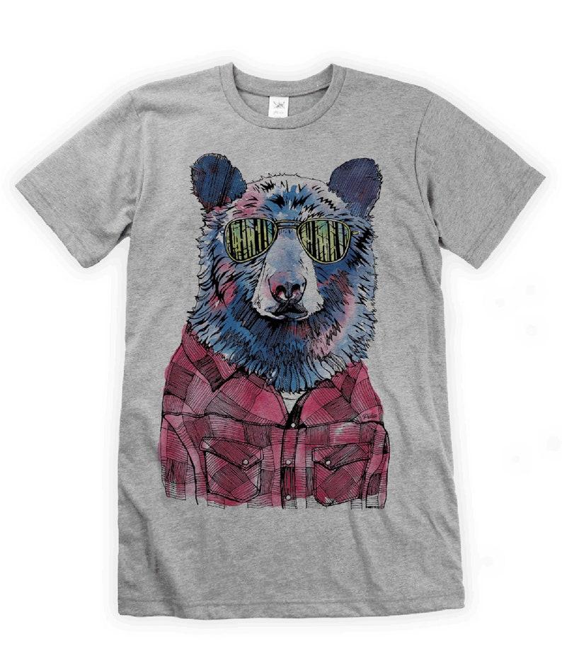 Hipster Bear on Unisex T-Shirt image 0