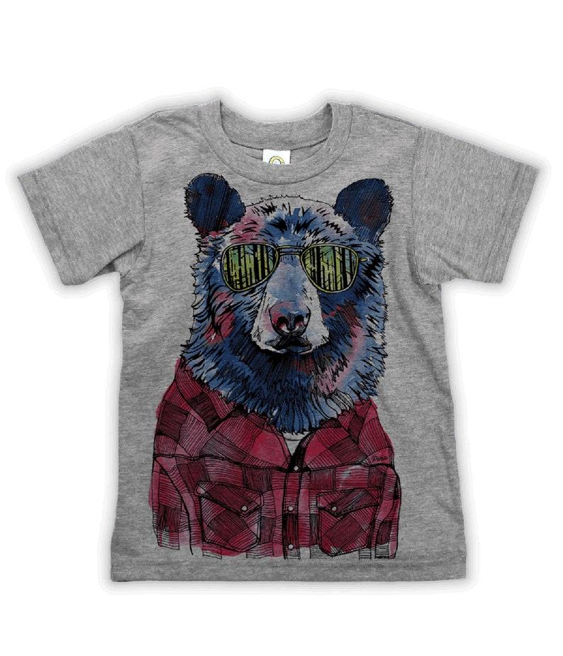 556f2aff Hipster Bear on Kids T-shirt