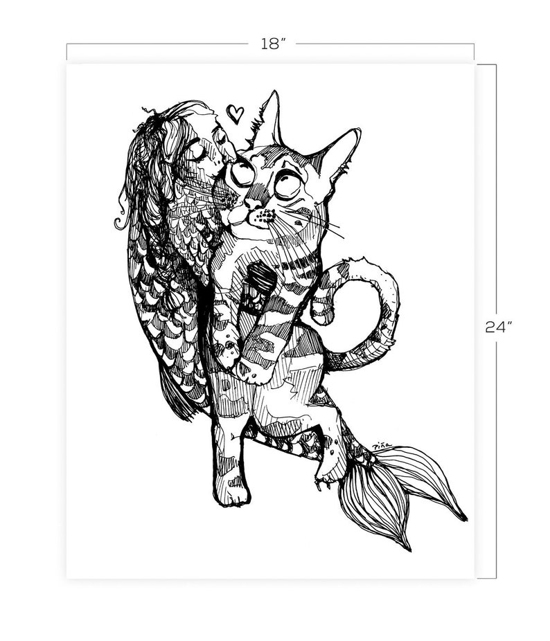 Cat and Fishgirl Downloadable Print 18 x 24 image 0