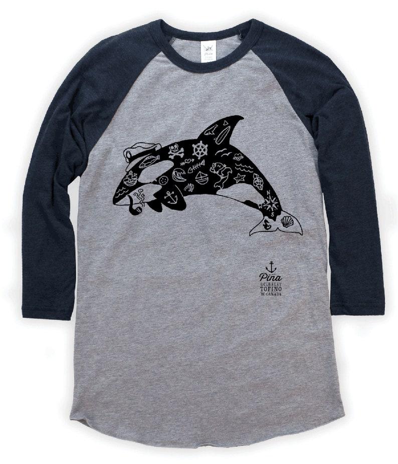 Tattoo Orca on Unisex Baseball T-Shirt image 0