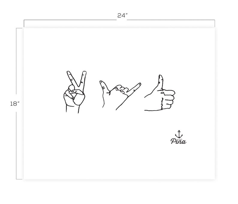 Hand Signs Downloadable Print 18 x 24 image 0