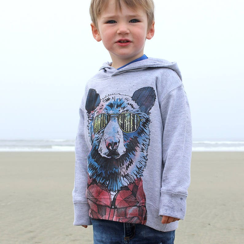 Hipster Bear and West Coast Treeline on Kids Grey Pullover image 0