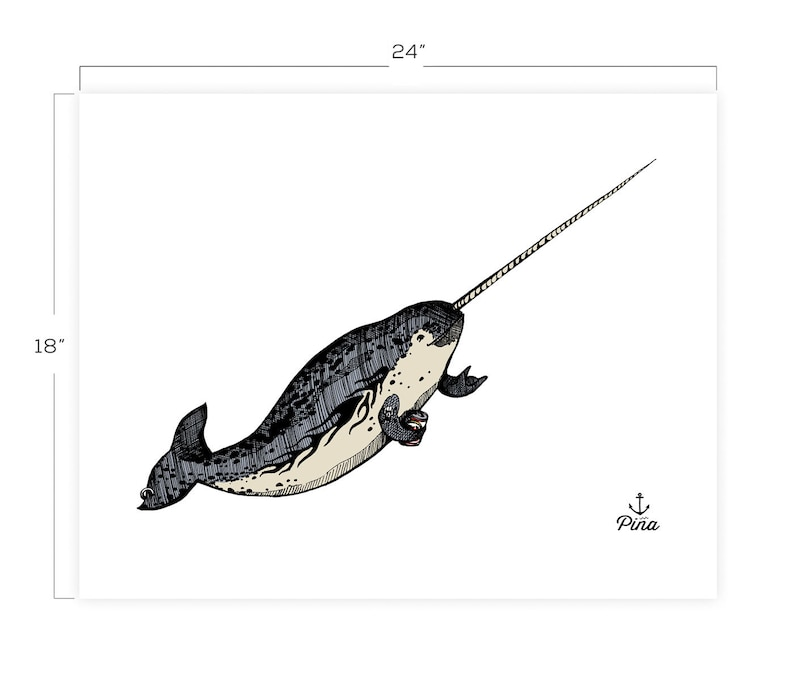 Gnarwhal Downloadable Print 18 x 24 image 0