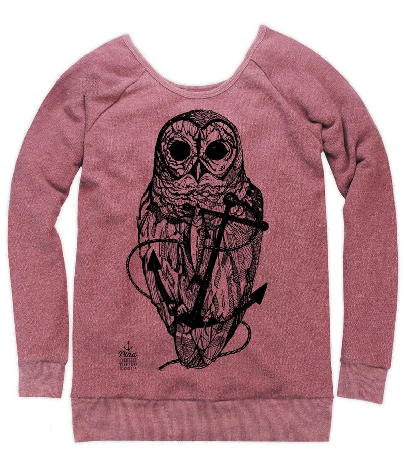 Owl and Anchor on Boatneck Sweatshirt image 0