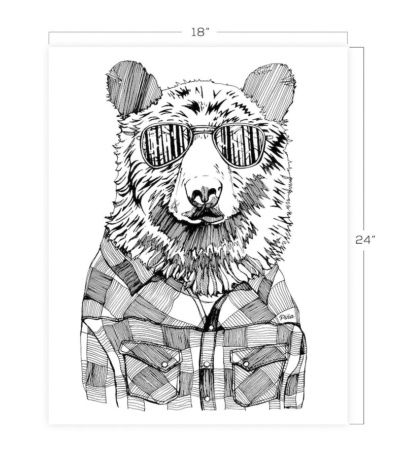 Hipster Bear Downloadable Print 18 x 24 image 0