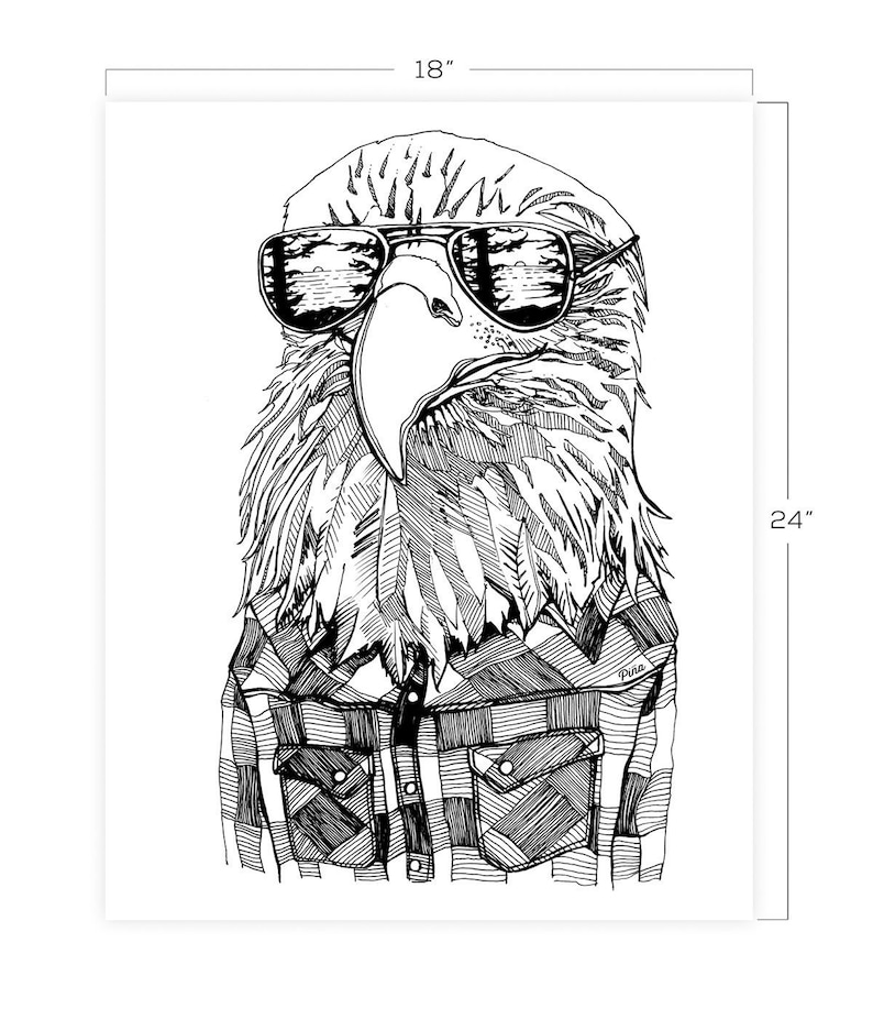 Hipster Eagle  Downloadable Print 18 x 24 image 0