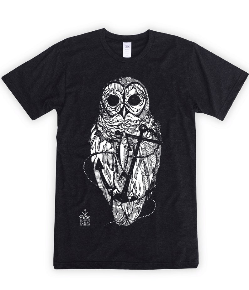 Owl and Anchor on Unisex T-Shirt image 0