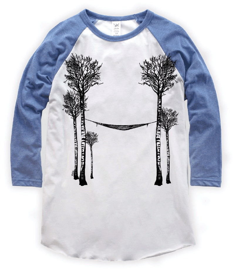 Birch Tree's and Hammock on Unisex Baseball T-Shirt image 0