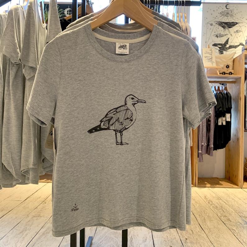 Seagull illustration on t shirt  Crewneck boxy silhouette tee image 0