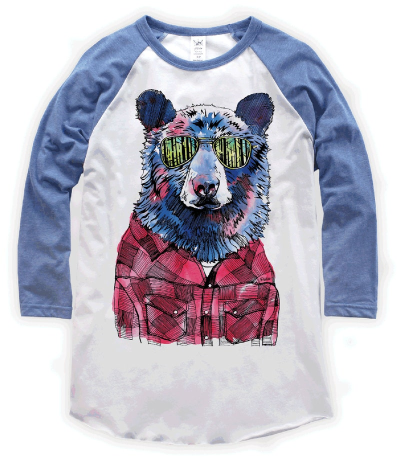 Hipster Bear on Unisex Baseball T-Shirt image 0