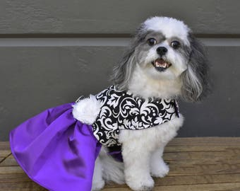 Dog Dress Purple Satin Skirt