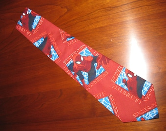 Spider-Man Handmade Necktie Unique SuperHero 100% Cotton OOAK