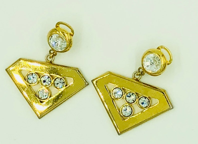 Vintage Valentino Earrings Clip Couture Costume Jewelry Gold Tone Rhinestones Made in Italy