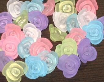 25 Rose Button Beads 15mm Seaside Rose Garden
