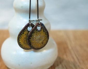 Ochre Yellow Gray Dangle Enamel Earrings