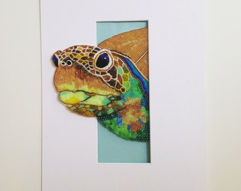 Bead Embroidered Turtle