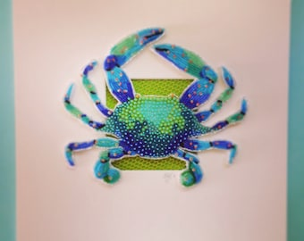 Bead Embroidered Blue Crab