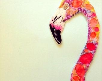 Seed Bead Embroidered Flamingo