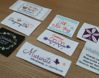 600 PCS Custom Woven labels Artwork Taffeta Clothing Labels - personalized name labels free design your tag logo high density damask fabric