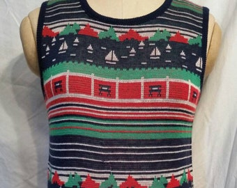 Vintage 40s thin sweater vest, 34 chest sailboats