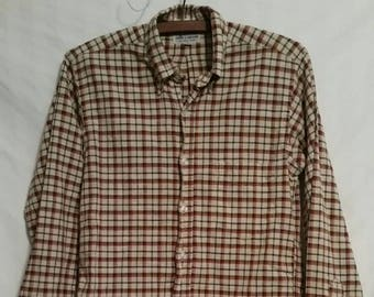 de180354a57e48 50s Boys vintage Lord and Taylor woven plaid shirt, 14, maroon, 38