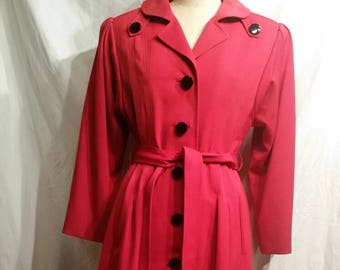 Gorgeous 1950s Vintage long ladies coat, large, black buttons, siren red