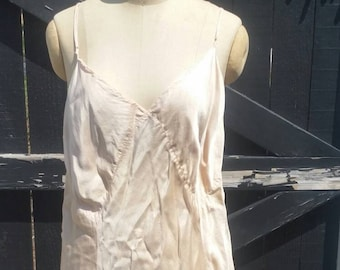 30s silk slip, peach nude trousseau wedding dress, XL size, 48 Barbizon,  some damage, silk rayon satin