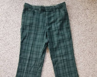 Vintage Mens Cropped Pants 70s Pastel Tartan Plaid Wide Leg Crop Trousers 36x28 dhBYQ